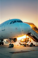 Preview iPhone wallpaper Airport, plane, sunrise