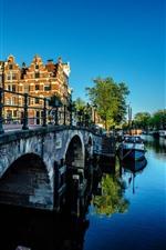 Amsterdam, Netherlands, bridge, river, city, morning