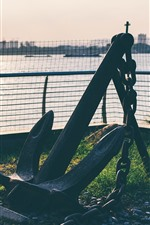 Preview iPhone wallpaper Anchor close-up, fence, river