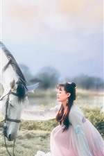Preview iPhone wallpaper Ancient girl, Zhaojun, horse