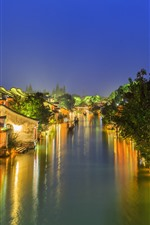 Preview iPhone wallpaper Ancient town, village, river, trees, night, lights, China