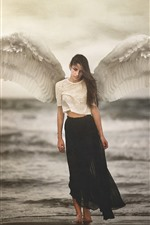 Preview iPhone wallpaper Angel, girl, white wings, sea