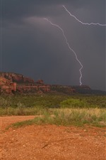 Preview iPhone wallpaper Arizona, Sedona, USA, valley, mountains, clouds, lightning