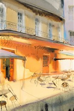 Preview iPhone wallpaper Art painting, restaurant, balcony, tables, chairs