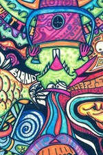 Preview iPhone wallpaper Artwork, colorful painting, fish, monster, abstract style