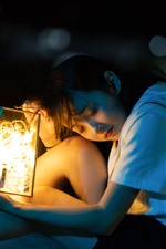 Preview iPhone wallpaper Asian young girl, lantern, stars light