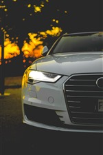 Audi white car front view, headlight