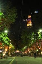 Preview iPhone wallpaper Australia, Melbourne, city, street, lights, night
