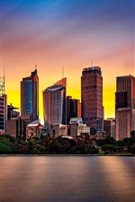 Preview iPhone wallpaper Australia, Sydney, river, city, buildings, sunset