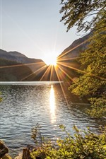 Austria, Styria, lake, trees, mountains, sun rays