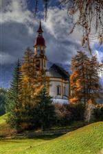 Áustria, igreja, árvores, montanhas, nuvens