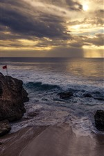 Preview iPhone wallpaper Bali, waves, sea, stones, pier, clouds, sun rays, sunset
