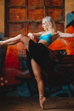 Preview iPhone wallpaper Ballerina, blonde girl dancing, feet, graffiti wall