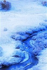 Preview iPhone wallpaper Bashang grassland, winter, snow, trees, river