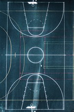 Preview iPhone wallpaper Basketball ground and football ground, top view