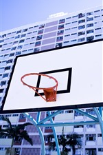 Preview iPhone wallpaper Basketball net, board, buildings