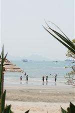 Preview iPhone wallpaper Beach, sea, ship, people, plants, Huizhou, China