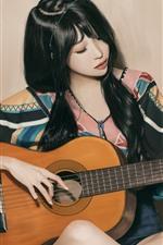 Preview iPhone wallpaper Beautiful Asian girl play guitar