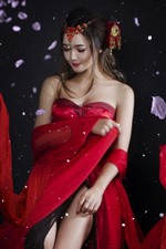 Preview iPhone wallpaper Beautiful Chinese girl, red skirt, ancient style, petals