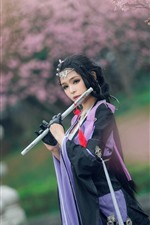 Preview iPhone wallpaper Beautiful Chinese girl, retro style, flute