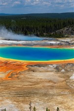 Preview iPhone wallpaper Beautiful Yellowstone National Park, forest, lake, USA
