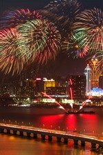 Preview iPhone wallpaper Beautiful fireworks, boat, city, Shanghai, bridge, lights, night, China