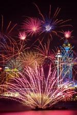 iPhone fondos de pantalla Bellos fuegos artificiales, noche, ciudad, Shanghai, China
