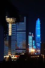 Beautiful lights show, blue style, skyscrapers, Shenzhen