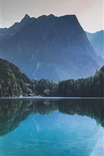 Preview iPhone wallpaper Beautiful nature landscape, forest, lake, water reflection, mountains