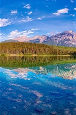 Beautiful nature landscape, lake, mountains, trees, water reflection, Canada