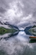 Preview iPhone wallpaper Beautiful nature landscape, mountains, clouds, lake, boat