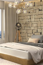Preview iPhone wallpaper Bedroom, bed, window, lamp, interior