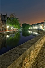 Belgium, Bruges, river, houses, city, night, lights