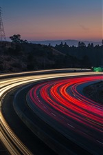 Preview iPhone wallpaper Bend road, light lines, night