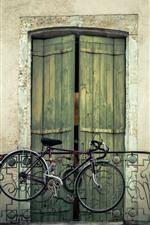 Preview iPhone wallpaper Bike, balcony, door