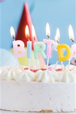 Preview iPhone wallpaper Birthday cake, candles, flame, cream, balloon