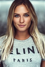 Preview iPhone wallpaper Blonde girl, blue eyes, gray shirt