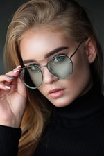 Preview iPhone wallpaper Blonde girl, glasses, black sweater