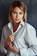 Blonde girl, short hair, white shirt