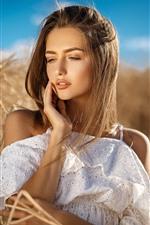 iPhone壁紙のプレビュー ブロンドの女の子、夏、白いスカート