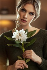 Preview iPhone wallpaper Blonde girl, white flowers, bouquet, sweater