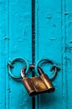 Preview iPhone wallpaper Blue door, lock