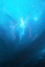 Preview iPhone wallpaper Blue nebula, space, light