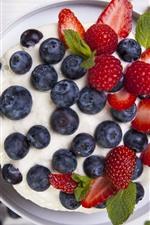 Preview iPhone wallpaper Blueberries, strawberries, pie, dessert
