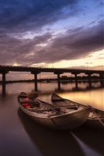 Preview iPhone wallpaper Boats, river, bridge, clouds, sunset