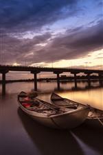 Barcos, rio, ponte, nuvens, pôr do sol