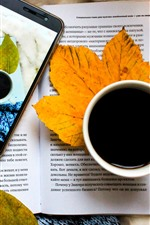 Preview iPhone wallpaper Book, coffee, leaves, mobile phone, still life