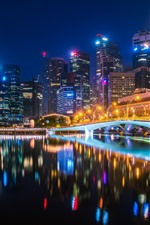 Preview iPhone wallpaper Bridge, river, buildings, illumination, lights, city, night
