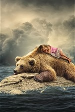 Preview iPhone wallpaper Brown bear, cute little girl, dolphin, seagulls, sea, creative picture