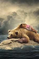 iPhone壁紙のプレビュー ブラウンクマ、かわいい女の子、イルカ、カモメ、海、クリエイティブイメージ